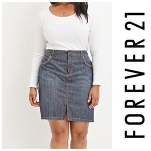 Forever 21 Plus Sizes Braided Trim Denim Skirt